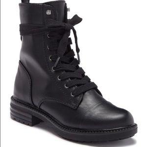 Report black lace up combat booties
